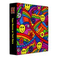 Smiley Face Rainbow and Flower Hippy Pattern Vinyl Binder