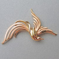 "HUGE 1980's Signed TRIFARI Bird of Paradise Enamel Gold Tone 4"" Pin"