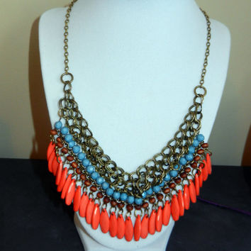 Orange, Light Blue and Brown Statement Bib Beaded Necklace with Brass Details