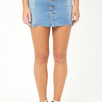 Raw-Cut Denim Mini Skirt