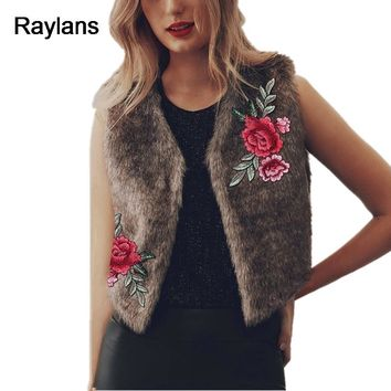 Raylans 2017 Fashion Women Faux Fur Vest Winter Embroidery Shaggy Waistcoat Short Outwear