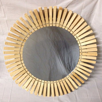 Medium Clothespin Sunburst Mirror. Handmade. Home Decor. Wall Art.