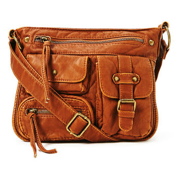 T-Shirt & Jeans Cognac Multi-Pocket Crossbody Bag | zulily