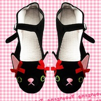 Kitty Cat Mary Jane Shoes  Size 4 by emandsprout on Etsy