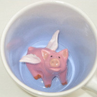 Flying Pig Surprise Mug by SpademanPottery on Etsy