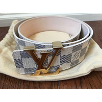 LV LOUIS VUITTON Trending Woman Men Smooth Metal Buckle Belt Leather Belt I