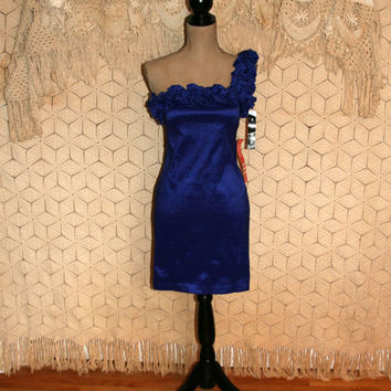 NWT One Shoulder Dress Royal Blue Dress Party Dress Short Formal Cocktail Dress Sexy Dress New Years Eve Size 2 Dress XS Womens Clothing