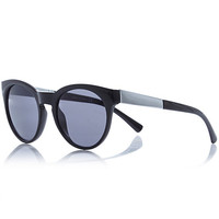 River Island Womens Black metal arm round sunglasses
