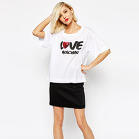 White Love Letters Printed Sequined Loose T-Shirt