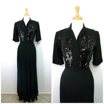 1940s Black Dress Crepe Evening Sequins Vintage Maxi Pleat Prom Party Cocktail Dress Medium