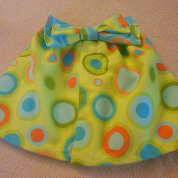 Green polka dot skirt, bow skirt, toddler skirt