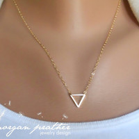 SALE - Tiny Triangle Necklace - Dainty Little Triangle Shape Charm Suspended on Gold Filled Chain - morganprather