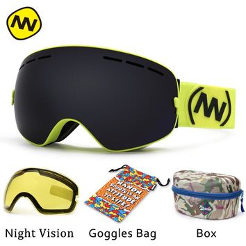 NANDN brand ski goggles UV400 anti-fog big ski mask glasses skiing men women snow snowboard goggles