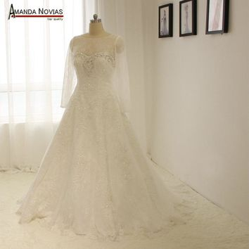 Strapless Lace A Line Wedding Dress With Long Sleeve Jacket NS1295