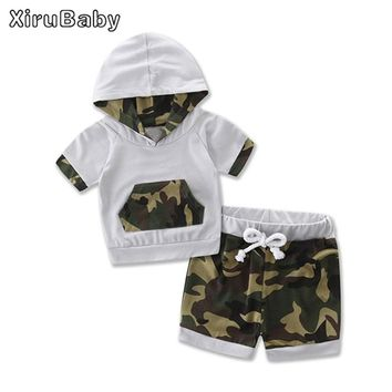 Xirubaby Baby Boys Clothing Sets 2017 Summer Baby Boys Casual Camouflage Short Sleeve Hoodie Tops and Shorts 2PCS Outfits Set
