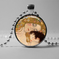 ART PENDANT, Gustav Klimt Mother and child Pendant Necklace, Mother's Jewelry, Gift for women