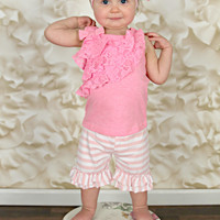 Light Pink & White Stripes Double Ruffle Shorties Shorts - Infant & Baby Sizes!