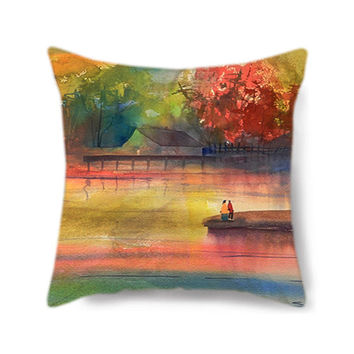 Art Pillow, Lake House Decor, Lake House Pillow, Decorative Throw Pillow Cover, 18x18, Lake Love, Wedding Gift, Anniversary Gift, Red Orange