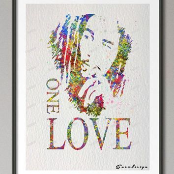 DIY Original watercolor BOB MARLEY ONE LOVE canvas painting wall art poster print Pictures for Home Decor wall hanging sticker