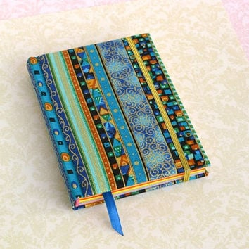Fabric covered notebook, Pocket notebook, Journal, blank book, stripes, handmade books, fabric cover journal, fabric journal, bright pages