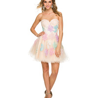 Nude & Multi Lace Up Strapless Dress 2015 Homecoming Dresses