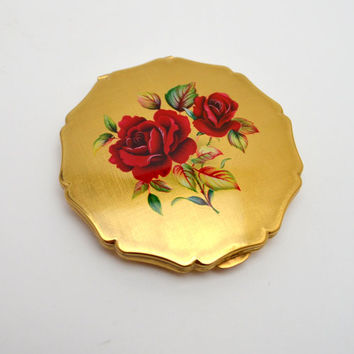 Vintage Stratton Compact, Scalloped Gold Tone Powder Compact with Painted Red Roses, circa 1950s