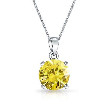 Simple 2CT Solitaire Round Pendant Necklace AAA CZ Birthstone Colors