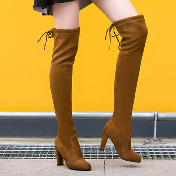 Suede Thigh High Boots up to Size 12 (26.5cm EU 43)