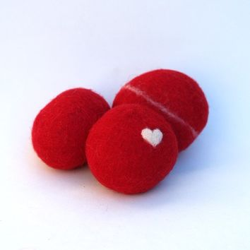 Felted Rocks, colorful handmade all natural wool felt home decor love heart housewares paperweight stone pebble dude hostess gift RED 3