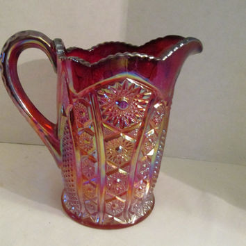 Indiana carnival glass 48 oz water pitcher, red sunset, heirloom vintage 1920s