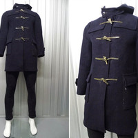 Vintage 70s GLOVERALL Navy Blue Duffel Coat Men Duffle Toggle Fastening Winter Jacket Red Tartan Plaid Lining Hooded British Made in England