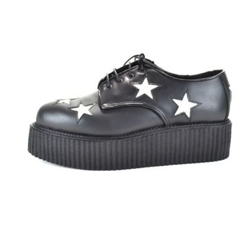 DEMONIA CREEPER-404 Women's Gothic Black Leather Platform Creepers w/White Stars