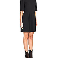 Fendi - Leather-Trim Silk Dress - Saks Fifth Avenue Mobile