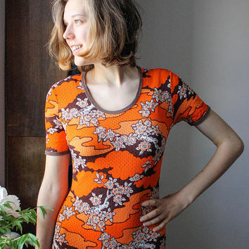 Vintage Mesh Leotard / Orange Floral Cherry Blossom Print Soviet Bodysuit, One Piece USSR Stretch Body / Size SMALL
