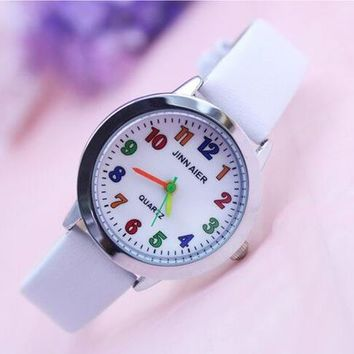Children Kids Watches Casual Fashion Cute Flowers Students Watch Life Waterproof PU Leather Strap Quartz Wrist Watch For Girl