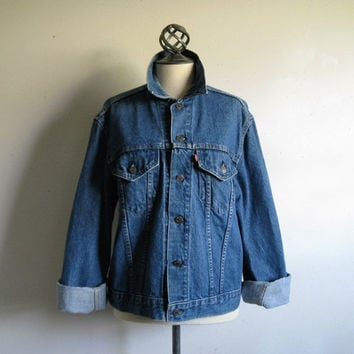 Levi Strauss 1980s Vintage Denim Jacket Levis Blue Jean Grunge Style Jacket 44 Made in USA