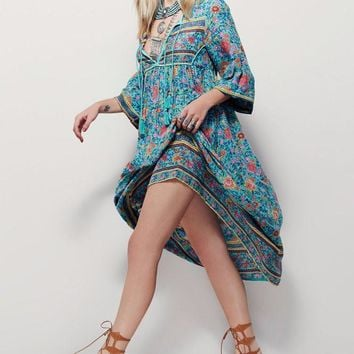 Free People Fashion Retro Tassel Irregular Multicolor Floral Print V-Neck Middle Sleeve Maxi Dress