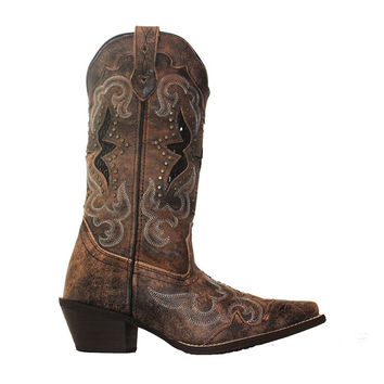Laredo Western - Distressed Black/Tan Leather Cowboy Boot
