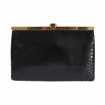Dolce & Gabbana Black Snakeskin Hand Crystal Clutch Purse