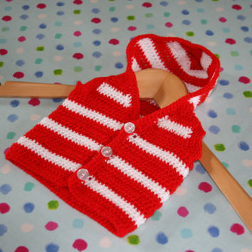 Baby cardigan Baby sweater Baby hoodie Newborn baby cardigan with hood red & white in soft easy care acrylic. Newborn baby to 3 months appx