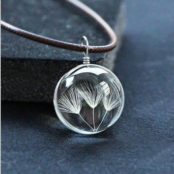 Handmade Real Dandelion Seed Globe Pendant Necklaces