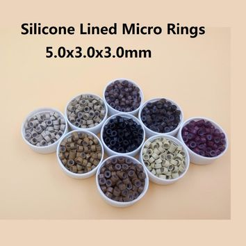 1000pcs 11# Light Brown 5mm*3mm*3mm Silicone Micro Ring/Links/Beads for i tip hair extension tube