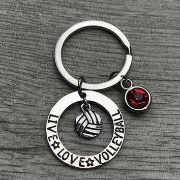 Personalized Volleyball Keychain with Birthstone Charm