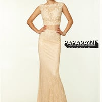 Two Piece High Neck Lace Paparazzi Prom Dress By Mori Lee 970063