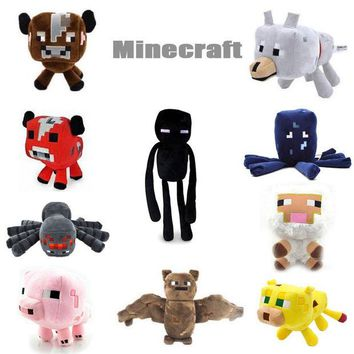 DCCKL72 2016 New Minecraft Plush Toys Enderman Ocelot Pig Sheep Bat Mooshroom Squid Spider Wolf Animal soft stuffed dolls kids toy gift