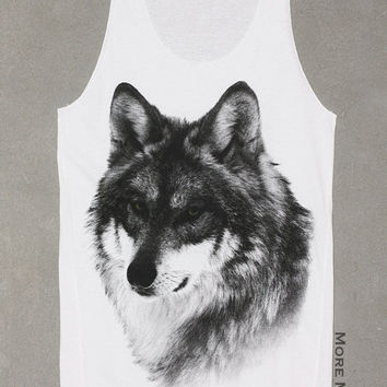 Wolf Face Animal White Art Singlet Tunic Vest Tank Top Animal Sleeveless Shirt Women Indie Punk Rock T-Shirt Size S-M