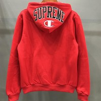 Supreme X Champion Fashion Unisex Zipper Hoodie Embroidering Long Sleeve Top Sweater Coat