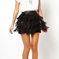 Fashion Leather Tassels Skirt