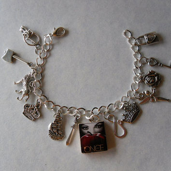 Once Upon A Time Charm Bracelet-Evil Queen, Apple, Snow White, Captain Hook, Rumpelstiltskin,TinkerBell, Neverland