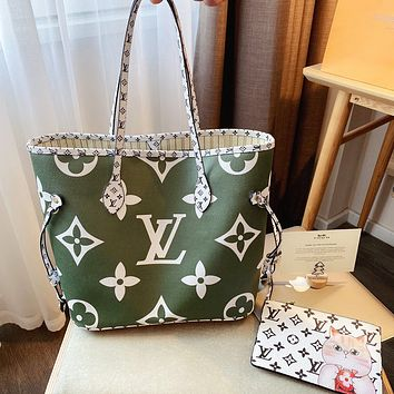 Lv New Shopping Bag-Big Flower New Color Matching-Delivery Pouch Army green